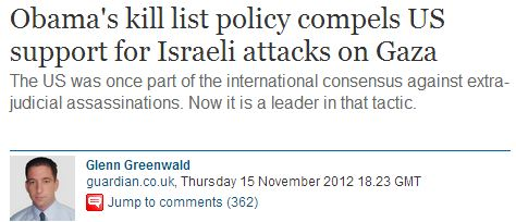 "Glenn Greenwald criticizes Bibi AND Obama's ""policies"" of intentionally killing innocent Muslims"