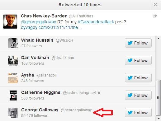 George Galloway Tweets for Israel
