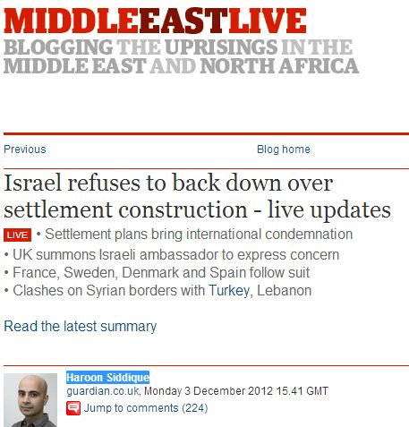 Guardian interrupts 'live blog' on Mid-East uprisings with news that Jews might build homes