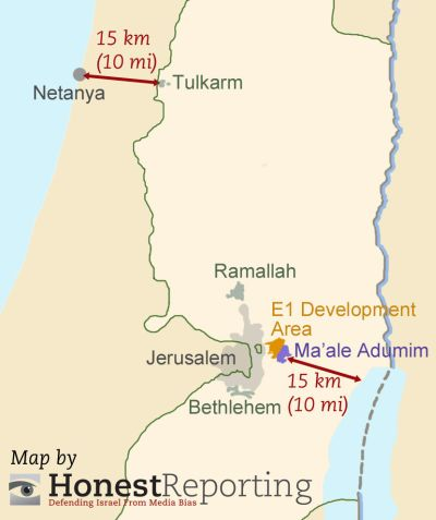 Does the Guardian own a map? Op-Ed falsely claims E-1 would cut West Bank in two