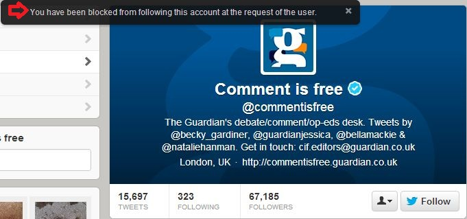 Blocked from following 'Comment is Free' on Twitter
