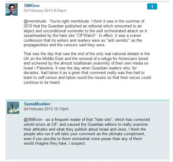 Guardian reader bemoans the effectiveness of CiF Watch