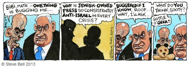 Steve Bell has fun with antisemitic tropes