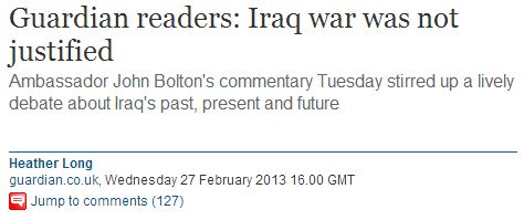 BREAKING: Guardian readers 'opposed' the Iraq War