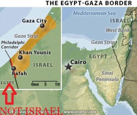 Harriet Sherwood neglects to mention one large Arab state bordering Gaza