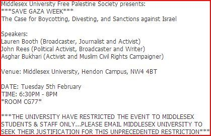 Middlesex Univ. bans public from 'Free Palestine Society' event with Lauren Booth