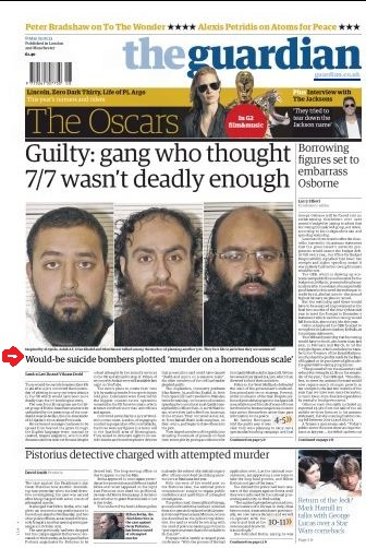 Guardian print edition story on UK terror plot adds info previously missing about Jewish targets