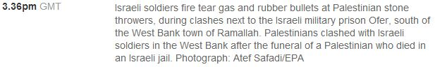 Guardian photo caption of the day: Palestinian 'stones' which somehow ignite