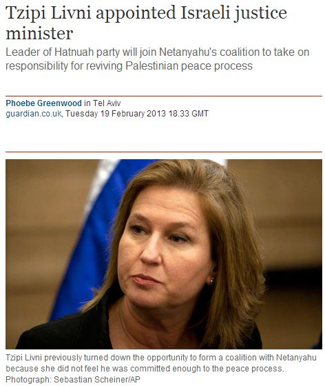 Guardian editorial removes Tzipi Livni from new Israeli government
