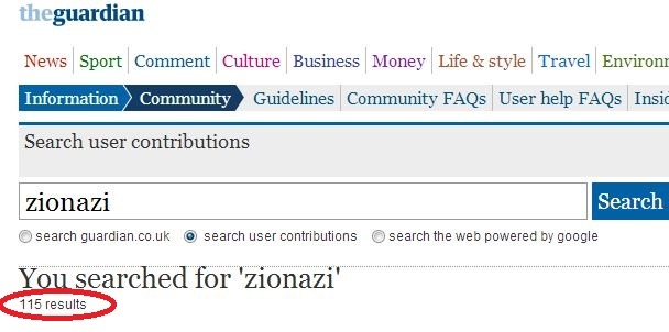 "Over 100 reader comments using the term ""ZioNazi"" not deleted at 'Comment is Free'"