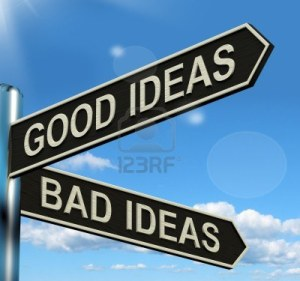 13564410-good-or-bad-ideas-signpost-shows-brainstorming-judging-or-choosing