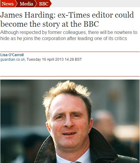 Is James Harding's religion relevant when reporting on his new position at the BBC?
