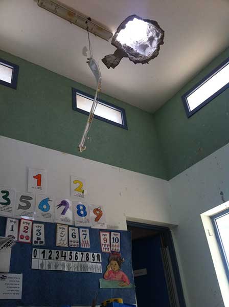 Rocket believed fired last month during Obama visit; kindergarten had been closed for Passover holiday, delaying discovery. (Photo courtesy of Sderot Media Center)