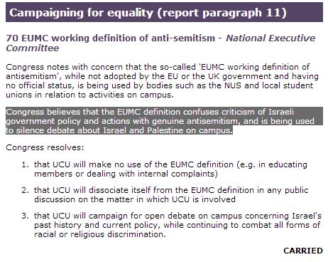 UCU motion rejecting EU Working Definition of Antisemitism