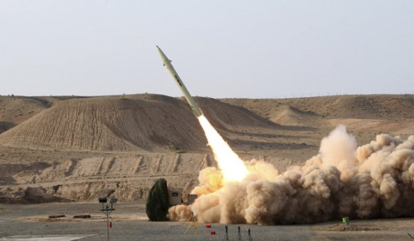 File photo of the Iranian made Fateh 110 missile, which Israel reported targeted in raids into Syria over the weekend.