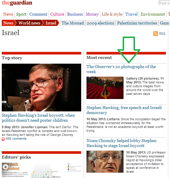 Pictorial representations of Israel promoted by the Guardian