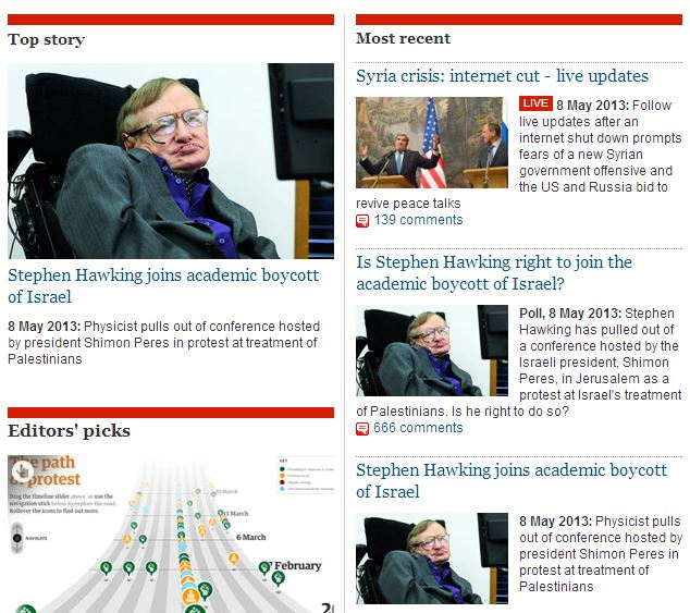 The Guardian got it wrong: Stephen Hawking is NOT boycotting Israel (Updated)