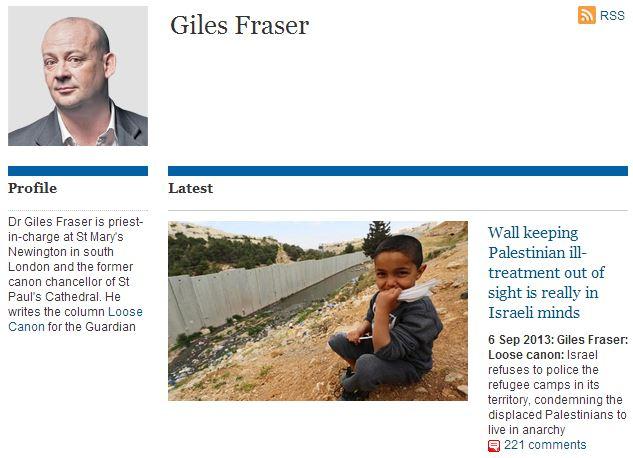 Guardian columnist Giles Fraser finds 'caged' Palestinians in Jerusalem
