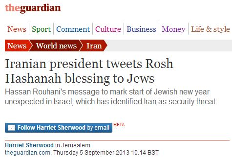Guardian report on Iranian president's 'Jewish New Year Tweet' appears to be untrue