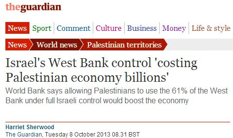 The Guardian (and World Bank) distorts cause of Palestinian economic woes
