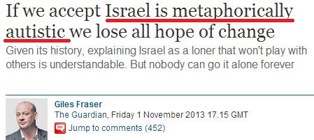 Guardian columnist compares Israel to an autistic child