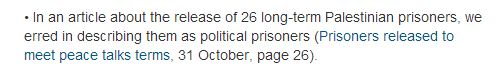 "The Guardian corrects false Palestinian ""political prisoner"" claim"