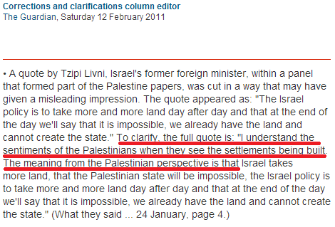 'Comment is Free' uses misleading Livni quote the Guardian previously corrected