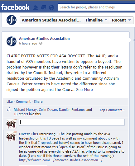 American Studies Association purges their Facebook page of critical comments