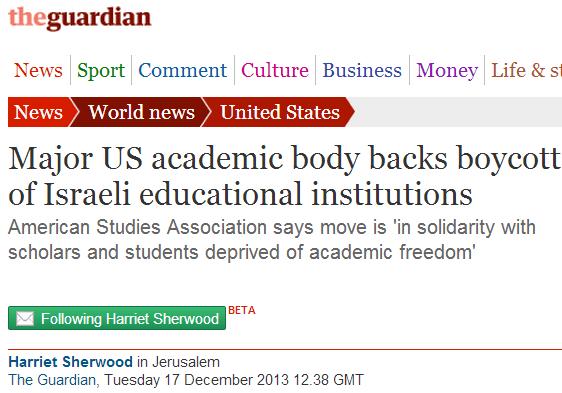 Postscript to Harriet Sherwood's ASA boycott story: Major BDS FAIL!