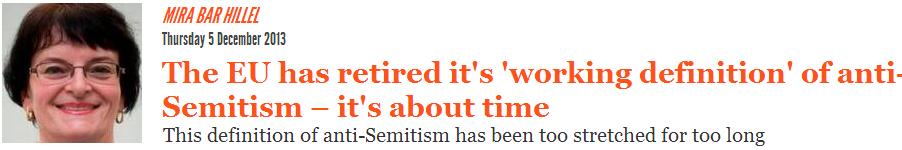 Antisemitic reporter Mira Bar-Hillel pens op-ed (on antisemitism!) for The Independent