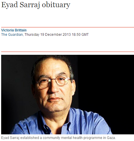 Guardian mourns Eyad Sarraj, a Palestinian who once asked: Are Jews evil by nature?