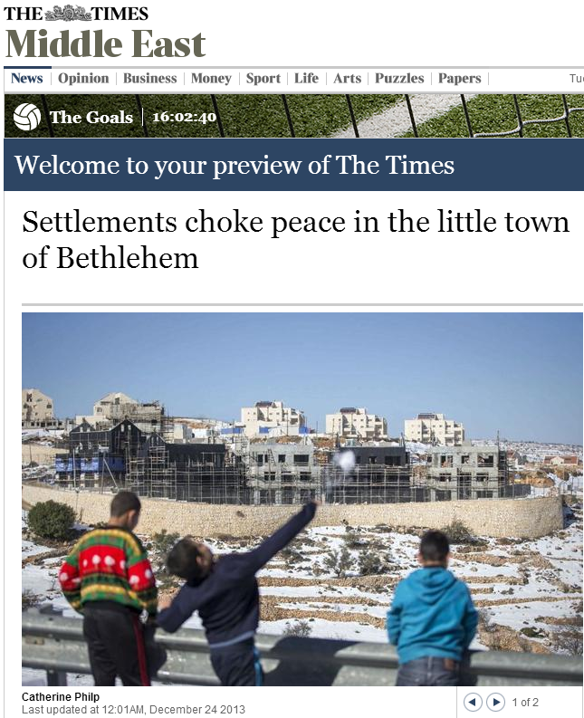 The award for 'UK paper blaming Israel for ruining Christmas in Bethlehem' goes to….