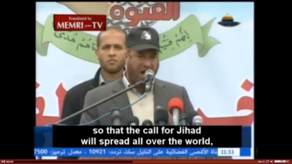 Hamas Interior Minister Fathi Hammad speaks to graduates of the organization's youth camps in Gaza, calling on them to annihilate Israel and take their struggle across the world. (screen capture: MEMRI)