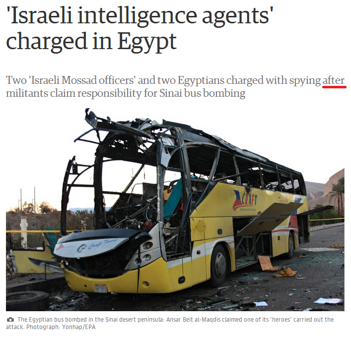 Guardian text & image almost suggest Israeli culpability in Egypt bus bombing