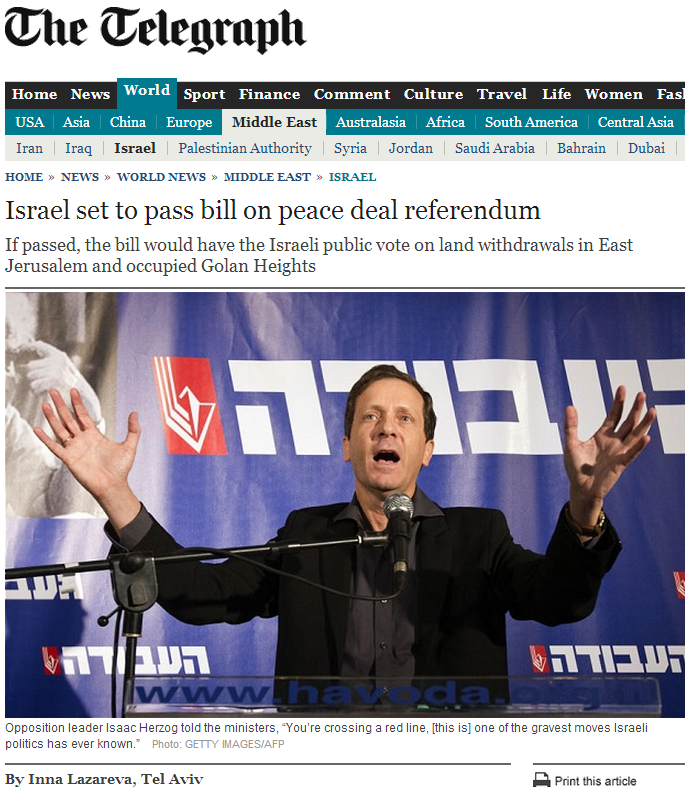 Telegraph cites PLO claim that Israeli bill requiring vote on territorial withdrawal 'stabs peace efforts'