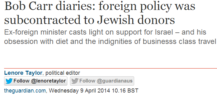 Does the Guardian object to Bob Carr's antisemitic insinuation?