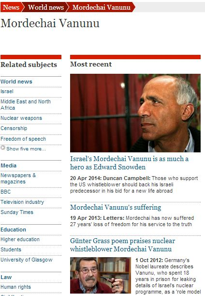 Guardian op-ed: Mordechai Vanunu is a hero 'like Snowden'