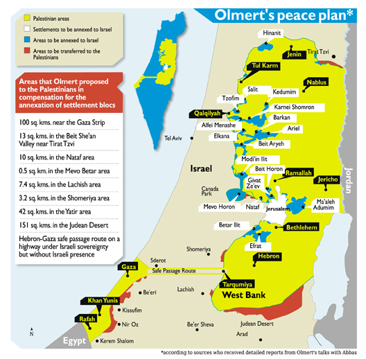 Map reflecting Israeli peace plan in 2008