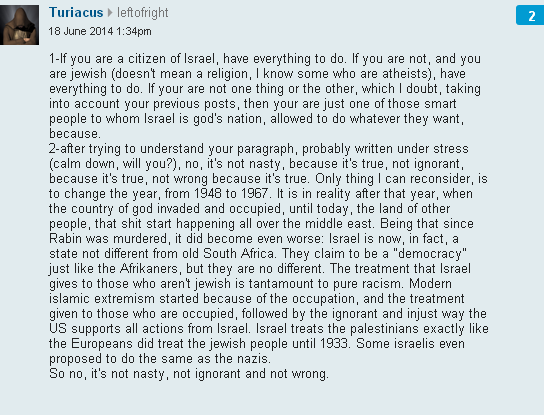 Focus below the line: Guardian readers 'reflect' on Israel and the Jews (June 30)