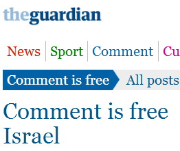 Guardian's output of Israel related commentaries continues to decline