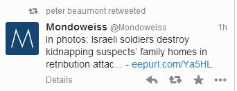 Guardian's Jerusalem correspondent re-tweets the hate site, Mondoweiss
