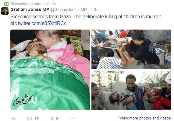 "Graham Jones MP accuses Israel of ""deliberately killing children"""