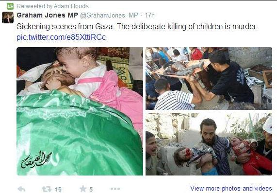 "Graham Jones MP accuses Israel of ""deliberately killing children"""