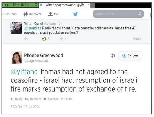 Guardian logic used to blame Israel for ceasefire violation in one tweet