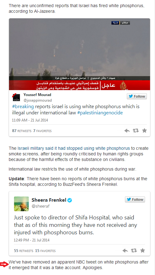 Guardian duped by fake NBC Tweet claiming white phosphorous attack