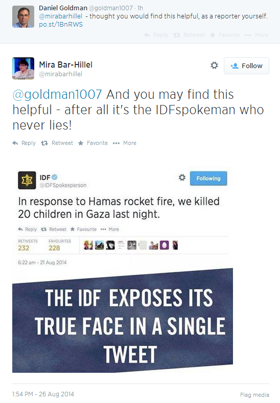 Mira Bar-Hillel falls for phony 'IDF' tweet 'admitting' to murdering children