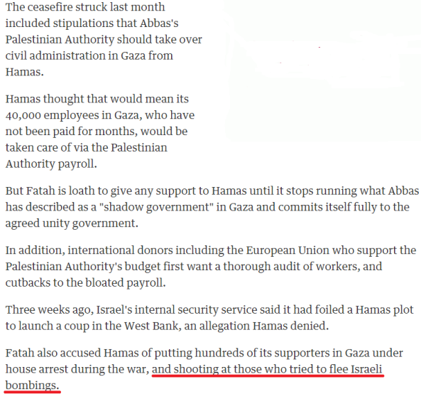 Guardian/Reuters buries the lead on Hamas targeting of Palestinian civilians