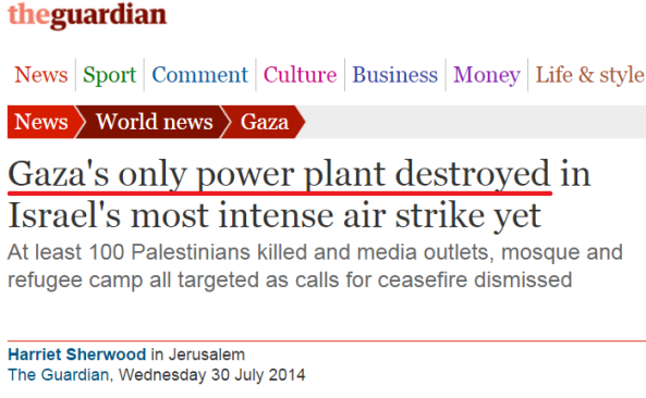 "Miracle in Gaza: Power plant the Guardian declared ""destroyed"" comes back to life"