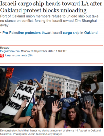 The Guardian caught using wrong photo to highlight anti-Israel protest at Californian port.