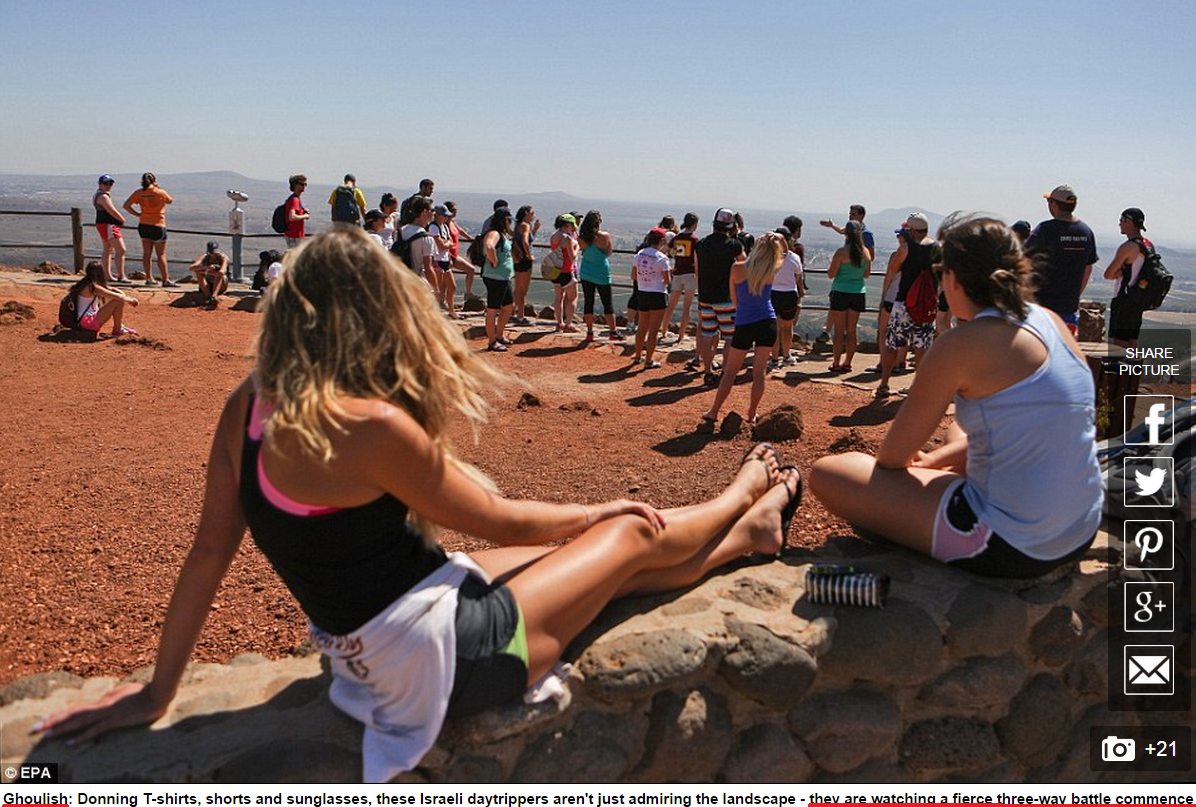 "Daily Mail characterizes Israeli tourists at Syrian look-out point as ""ghoulish"""